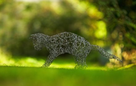 Wire cat sculptures