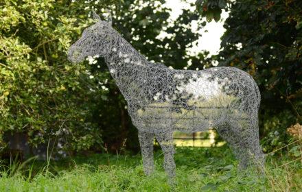 Wire horse garden sculptures