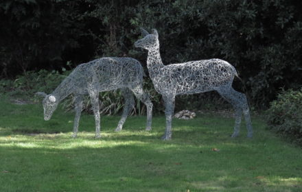 Wire deer garden sculptures