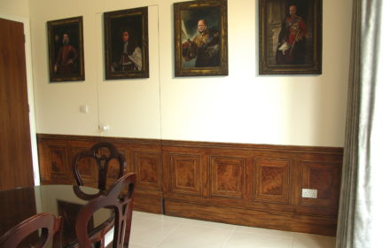 Trompe l'oeil portraits and panelling – private house, Kingston, 2014