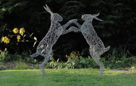 Wire hare sculptures