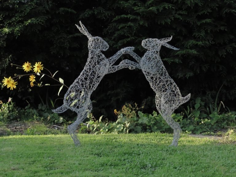 Wire sculpture of hare