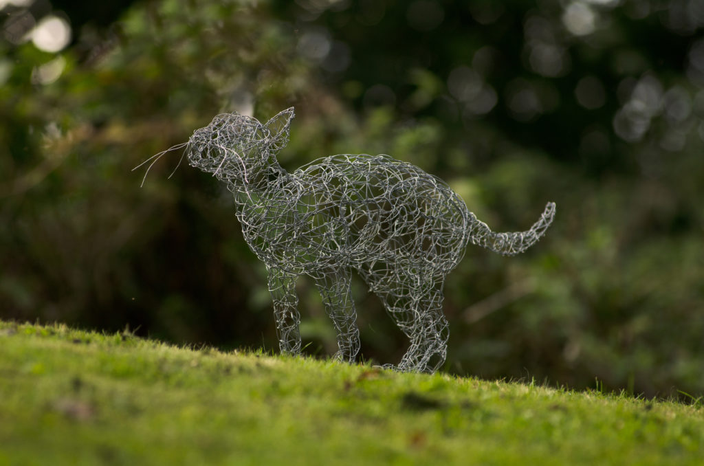 Hand made wire sculpture of a cat
