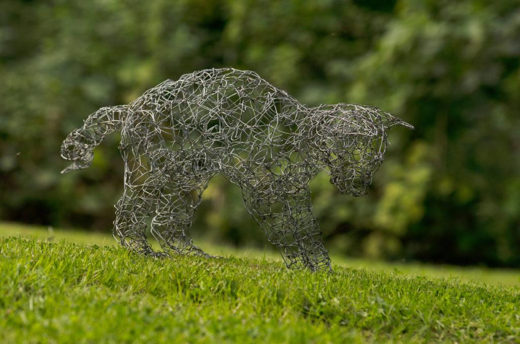 Wire handmade cat sculpture