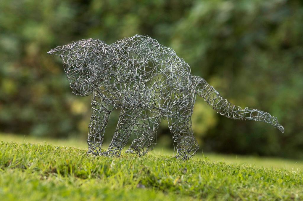 Wire Cat Sculpture