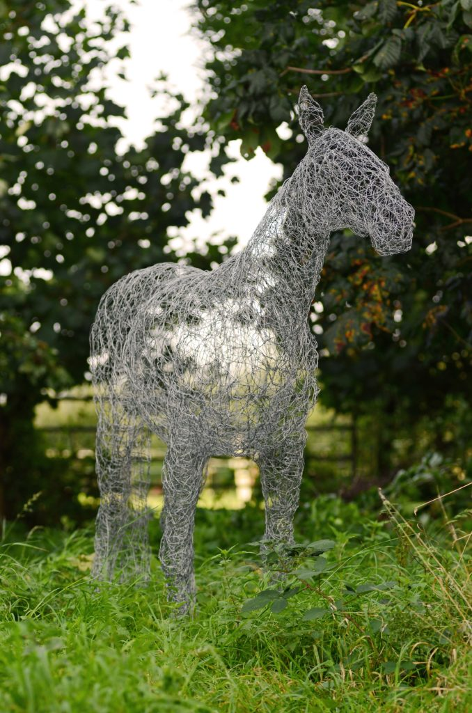 Wire horse garden art sculpture